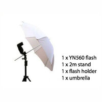 "Portable Speedlite Flash Kit with 1.9m Light Stand, 36"" Umbrella & Flash Holder"