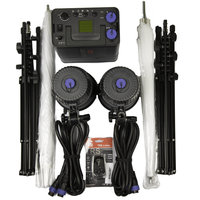 Jinbei Discovery II 600 Battery Flash Kit with two Heads, Backpack, Light Stands and Umbrellas