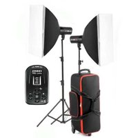 Jinbei DM3 400Ws twin head kit with softboxes stands and roller bag