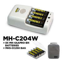 Maha Powerex MH-C204W One Hour Travel Charger + 8 x 2700 mAh Rechargeable Batteries
