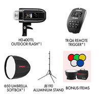 Jinbei HD400 Battery Flash Bundle with Softbox and TTL trigger